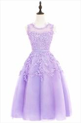 Illusion Lavender Sleeveless Lace Floral Applique A-Line Short Dress