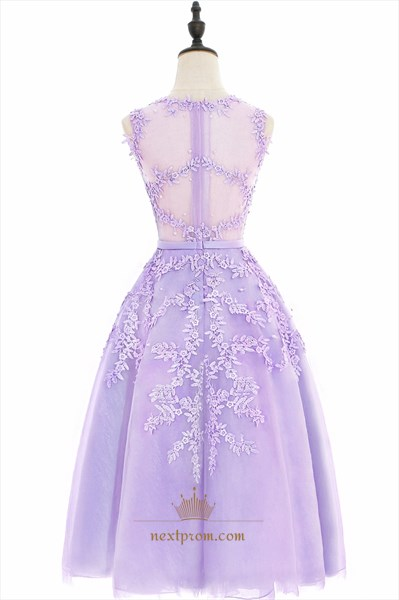 Illusion Lavender Sleeveless Lace Floral Applique A-Line Short Dress