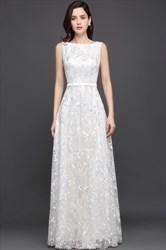 Elegant White Sleeveless Lace Overlay A-Line Floor Length Prom Dress