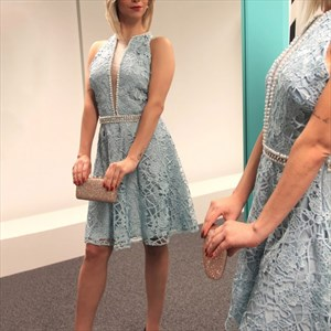 Light Blue Plunge V-Neck Sleeveless Beaded Lace Short Cocktail Dress