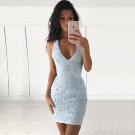 Simple Light Blue Sleeveless V-Neck Short Sheath Lace Homecoming Dress