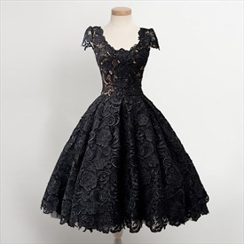 Lovely Cap Sleeve A-Line Knee Length Lace Overlay Little Black Dress