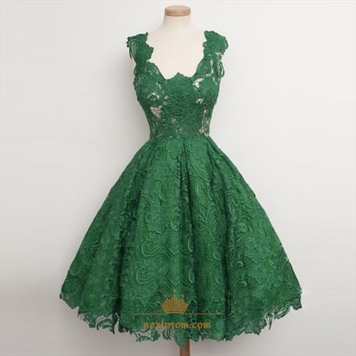 Cute Emerald Green Sleeveless A-Line Knee Length Lace Cocktail Dress