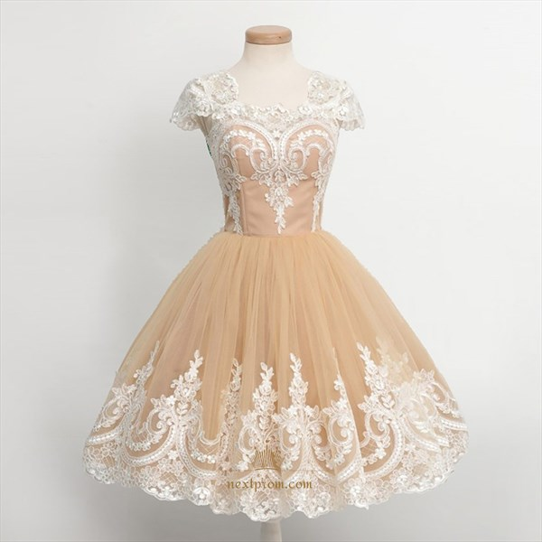 Cap Sleeve Lace Embellished Tulle Knee Length A-Line Homecoming Dress