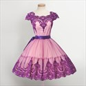 Cap Sleeve Knee Length A-Line Homecoming Dress With Lace Embellished