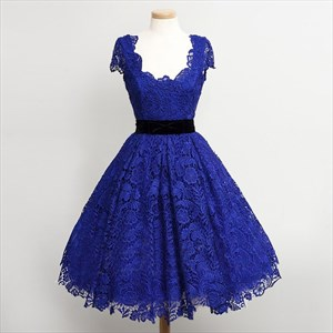Simple Royal Blue Cap Sleeve A-Line Knee Length Lace Homecoming Dress