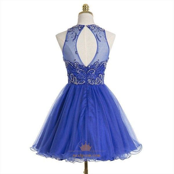 Royal Blue Sleeveless Beaded Bodice A-Line Knee Length Cocktail Dress