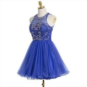 Royal Blue Sleeveless Beaded Bodice A-Line Knee Length Cocktail Dress