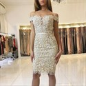 Light Champagne Off The Shoulder Lace Short Sheath Homecoming Dress
