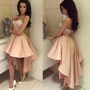 Strapless Sweetheart A-Line High Low Homecoming Dress With Lace Top
