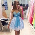 Strapless Beaded Sweetheart Short Lace Homecoming Dress With Bowknot