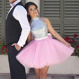 Cute Pink Sleeveless Sequin Tulle Homecoming Dress With Bow In Back