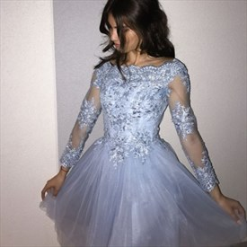 Light Blue Illusion Long Sleeve Lace Applique Tulle Short A-Line Dress