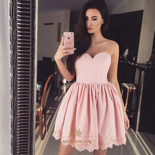 Short Cute Pink Strapless Sweetheart Lace Embellished Homecoming Dress