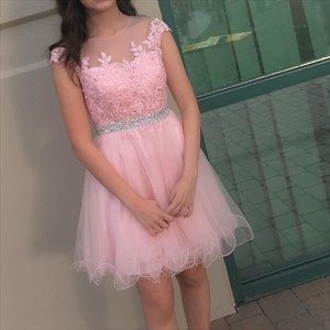 Pink Illusion Neckline Cap Sleeve Beaded Waist Short Homecoming Dress