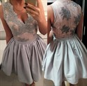 Grey Sleeveless V-Neck A-Line Lace Embellished Short Homecoming Dress