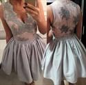 Grey Sleeveless V-Neck A-Line Lace Embellished Short Homecoming Dress