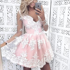 Illusion Long Sleeve V-Neck A-Line Lace Overlay Short Cocktail Dress