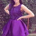 Elegant Purple Sleeveless Lace Top A-Line Knee Length Cocktail Dress