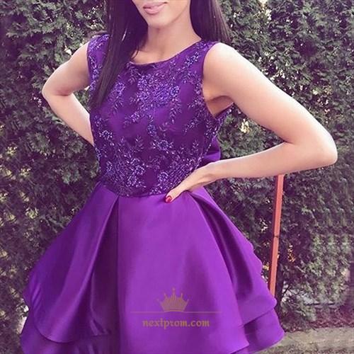 Elegant Purple Sleeveless Lace Top A-Line Knee Length Cocktail Dress