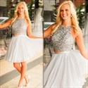 Knee Length Sleeveless Beaded Bodice Two-Piece A-Line Homecoming Dress