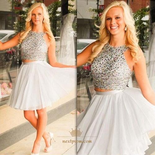Knee Length Sleeveless Beaded Bodice Two-Piece A-Line Homecoming Dress