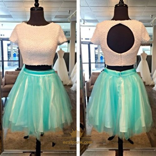 Two Piece Short Sleeve Beaded Top Homecoming Dress With Keyhole Back