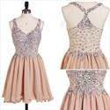 Sleeveless V-Neck Beaded Bodice Chiffon Bottom Short Homecoming Dress