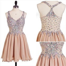 Sleeveless V-Neck Beaded Bodice Chiffon Bottom Short Homecoming Dress