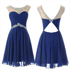 Illusion Royal Blue Cap Sleeve Short Beaded Chiffon Homecoming Dress