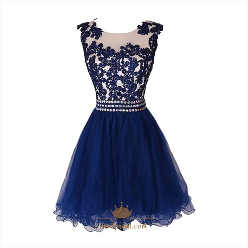 Royal Blue Lace Beaded Embellished Short A-Line Tulle Homecoming Dress