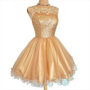 Champagne Cap Sleeve Lace Sequin Bodice A-Line Short Cocktail Dress