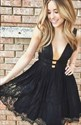 Sleeveless Plunge V-Neck A-Line Knee Length Lace Little Black Dress