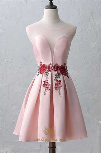 Lovely Pink Cap Sleeve Knee Length A-Line Embroidery Homecoming Dress