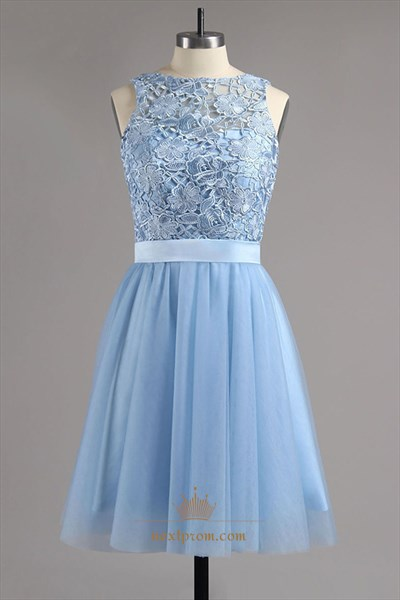 Sky Blue Sleeveless Backless Lace Bodice Short Chiffon Dress With Bow