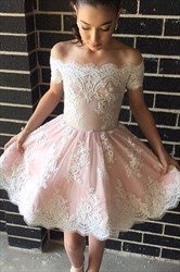 Elegant Cute Off The Shoulder Knee Length A-Line Lace Homecoming Dress
