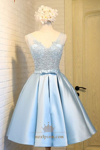 Light Blue Illusion Sleeveless V-Neck A-Line Lace Top Homecoming Dress