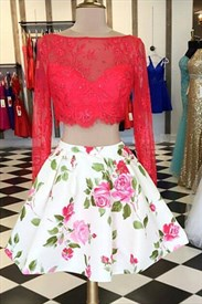 Floral Two-Piece Long Sleeve Short Cocktail Dress With Red Lace Bodice