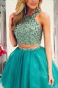 Sleeveless Two-Piece Beaded Bodice Knee Length Tulle Homecoming Dress