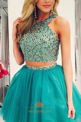 Sleeveless Two-Piece Beaded Bodice Knee Length Tulle Homecoming Dress