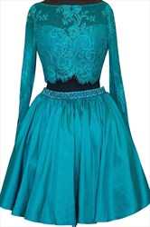 Elegant Long Sleeve Short A-Line Two-Piece Prom Dress With Lace Top