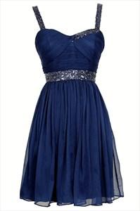 Royal Blue Sleeveless Short Bead Embellished Chiffon Homecoming Dress