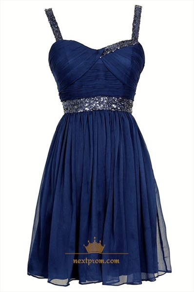 Royal Blue Sleeveless Short Bead Embellished Chiffon Homecoming Dress