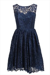 Simple Navy Blue Sleeveless Knee Length A-Line Lace Homecoming Dress