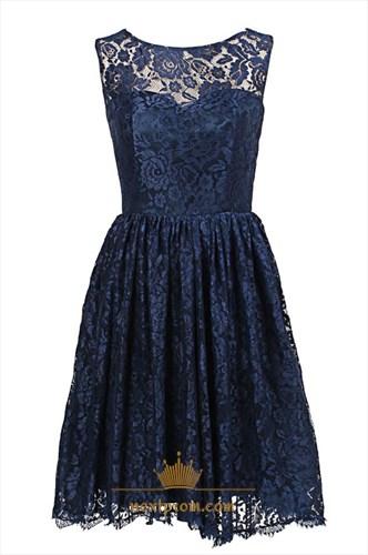 Simple Navy Blue Sleeveless Knee Length A-Line Lace Homecoming Dress