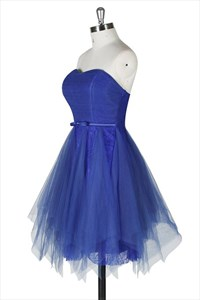 Royal Blue Strapless Knee Length A-Line Lace Dress With Tulle Overlay