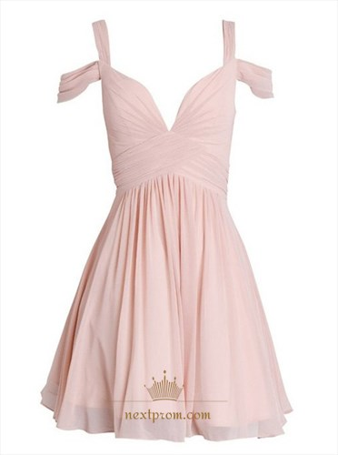 Cute Light Pink Off The Shoulder Ruched Bodice Short Homecoming Dress