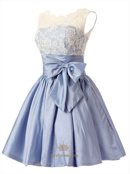 Cute Light Blue Sleeveless Lace Bodice Short Homecoming Dress With Bow
