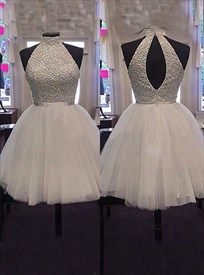 White Sleeveless High-Neck Beaded Bodice Tulle Bottom Homecoming Dress