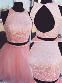 Pink Sleeveless Two-Piece Beaded Homecoming Dress With Keyhole Back